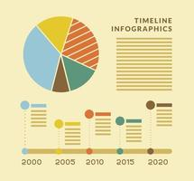 Timeline infographics with pie chart vector design