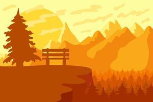 reserva forestal de montaña y parque con banco vector