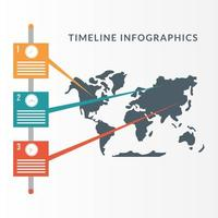 Timeline infographic with world map vector