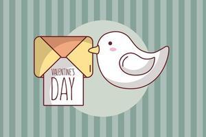 diseño de tarjeta de san valentín con tarjeta y paloma