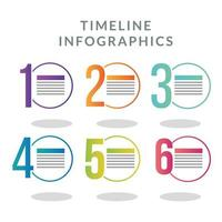 Timeline infographic with colored circles template vector