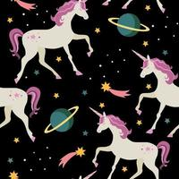 Seamless pattern with unicorns and planets, stars. vector