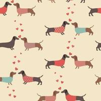 Seamless pattern with Dachshunds and hearts. vector