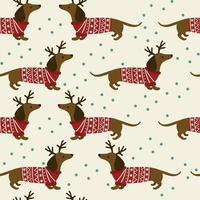 Seamless Christmas pattern with dachshunds wearing clothes, horns and snowlakes. vector