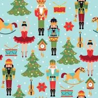 Christmas seamless pattern with tree, clock, ballerina, violine, nutcracker and drum. vector