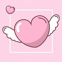 Valentines day heart with wings vector design