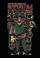 casual style fox illustration tshirt design