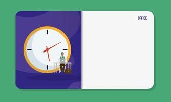 Businessman with laptop on a desk in front of a clock vector