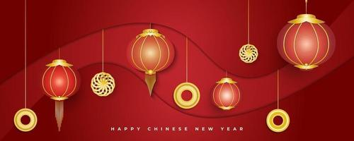 Happy Chinese new year banner with lanterns and gold ornaments on abstract red background