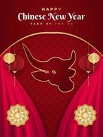 Happy Chinese New Year 2021 year of the ox. Chinese greeting card decorated with golden ox head, lanterns and red curtains on red paper background