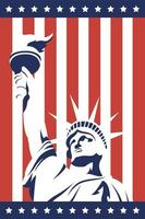 4th of July celebration design with statue of liberty