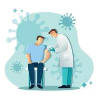 Doctor giving patient vaccine, Medicine healthcare concept, Vector illustration
