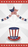4th of July celebration design with USA flag and hat vector