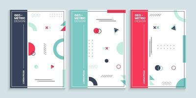 Memphis style cover design template collection