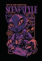 scene style fox illustration tshirt design