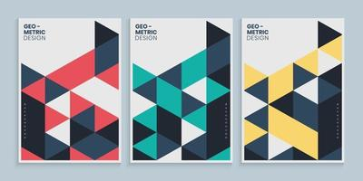 Minimal geometric cover design with colorful triangles set