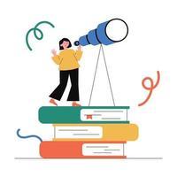visión, educación, búsqueda de la oportunidad. vector