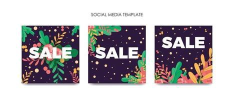 Set social media template vector