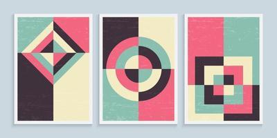 Minimalist geometric art wall posters in vintage colors set