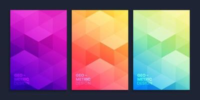 Geometric gradient background collection with 3D cubes