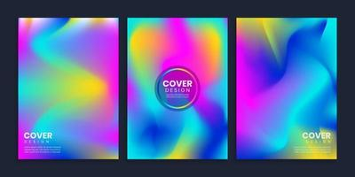 Vibrant blurred gradient covers design template set