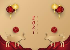 Chinese new year 2021 greeting banner with golden ox and lantern on paper cut background