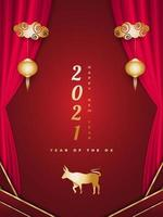 Happy Chinese New Year 2021 year of the ox. Chinese greeting card decorated with golden ox, lanterns, and red curtains on red background
