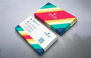 Geometric colorful business card set vector