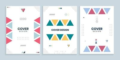 Memphis cover collection with colorful Triangles set