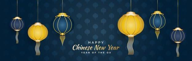 Chinese new year greeting banner with blue and gold lanterns in paper cut style isolated on blue background