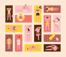 People tanning on the beach. vector