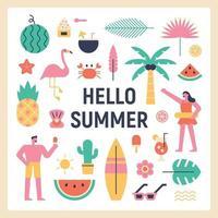 hello summer poster. vector