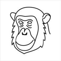 Diseño de icono de chimpancé animal. vector, clip art, ilustración, estilo de diseño de icono de línea. vector