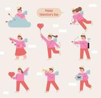 mensajero de amor conjunto de caracteres. vector