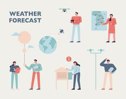 Weather station experts. vector