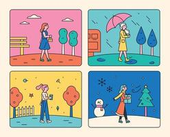 Four seasons weather. vector