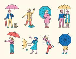 gente de día lluvioso. vector