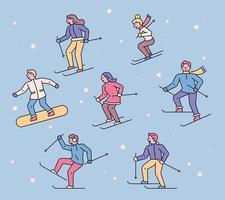 People enjoy winter sports. vector