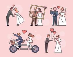 pareja de fotos de boda. vector