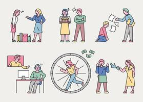 Various stressful situations of workers. vector