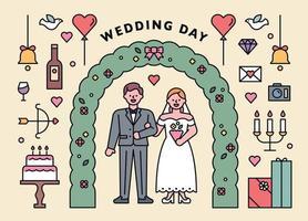 pareja del día de la boda. vector