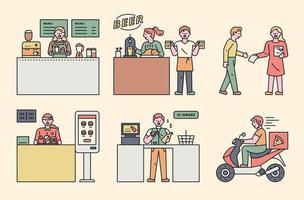 personajes de trabajadores de trabajo a tiempo parcial. vector