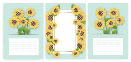 conjunto de tarjetas de felicitación con girasol. vector