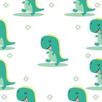 lindo dinosaurio tiranosaurio dibujos animados patrón sin igual vector