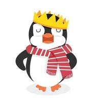 Penguin character with king crown