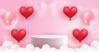 Valentine's day  podium . vector