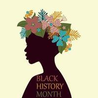 tarjeta del mes de la historia negra con mujer y flores en la cabeza. vector
