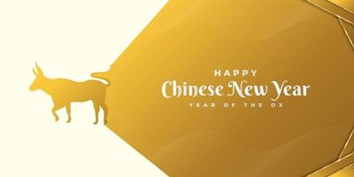 Happy Chinese New Year banner with golden ox on gold paper background. Chinese zodiac symbol. Lunar new year 2021 year of the ox