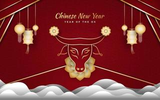 Chinese new year 2021 year of the ox. Happy lunar new year banner with golden ox, cloud and lantern on red background