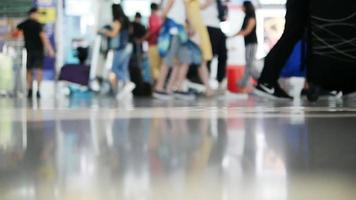 Slow Motion Blur Tourist Walking at Airport Terminal